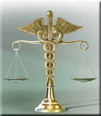 Image of a caduceus holding scales